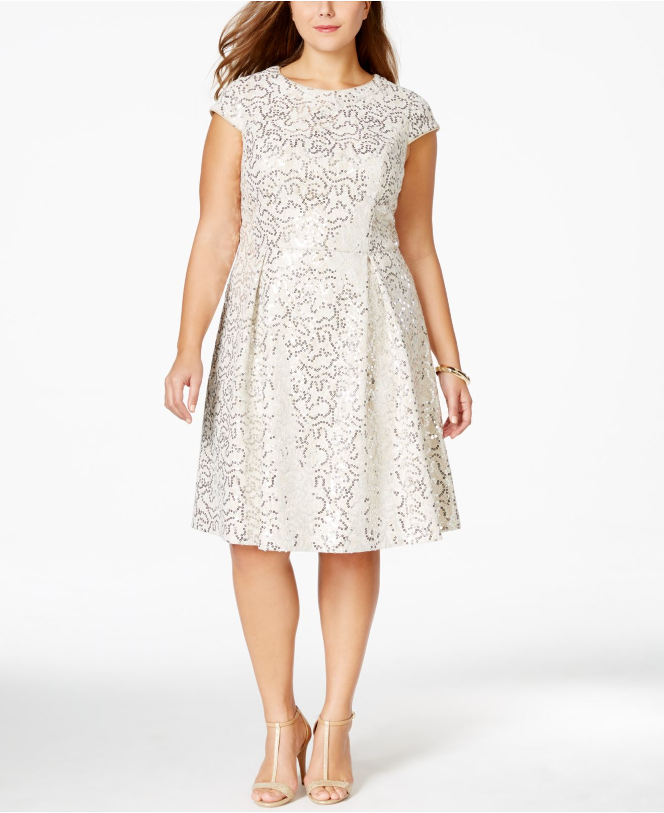 Plus Size Sequined Flare Dress