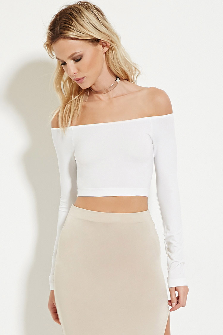 59f45a01e744bc Lyst - Forever 21 Off-the-shoulder Crop Top in White