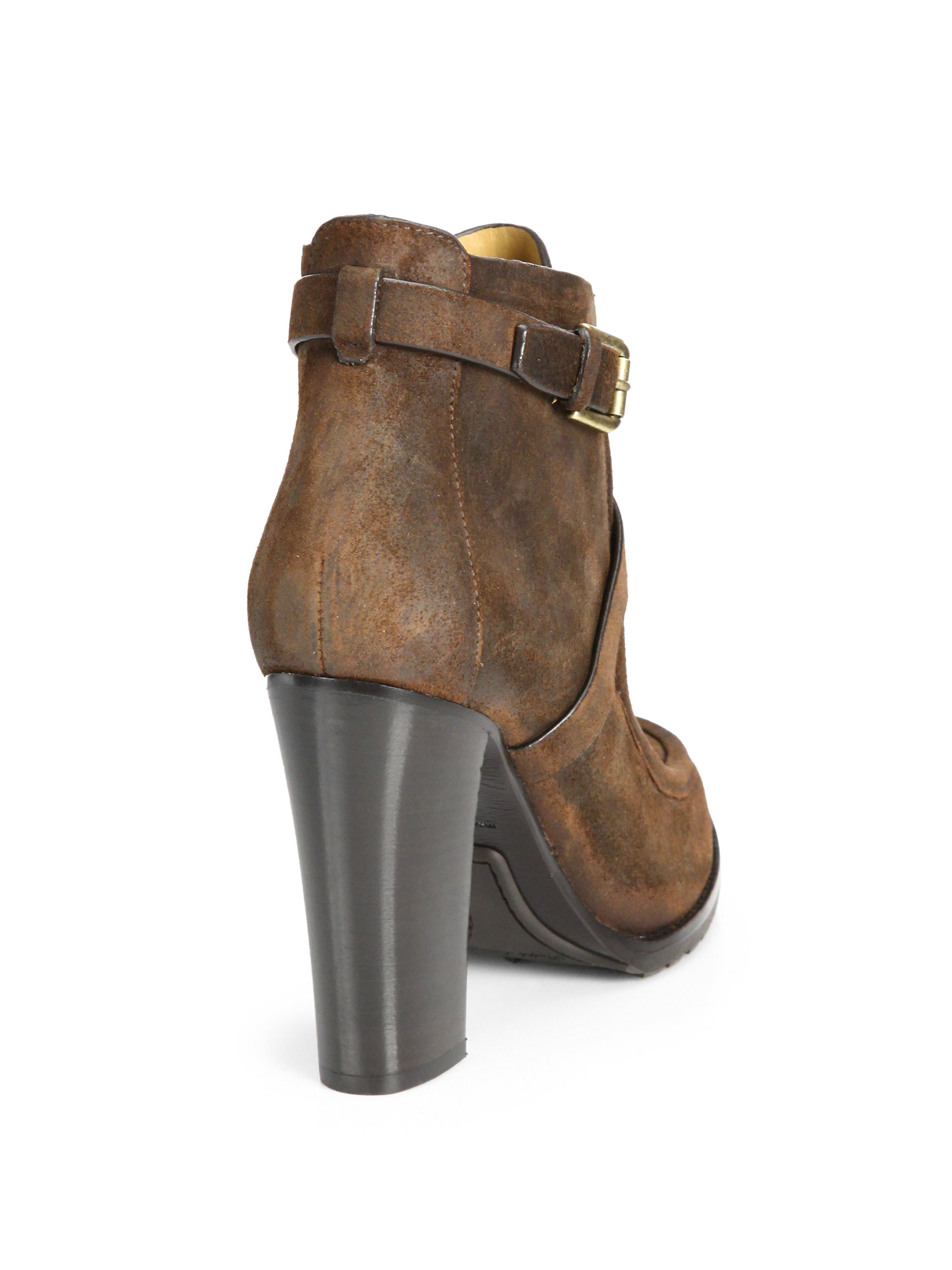 Ralph Lauren Collection Modina Suede Ankle Boots In Brown