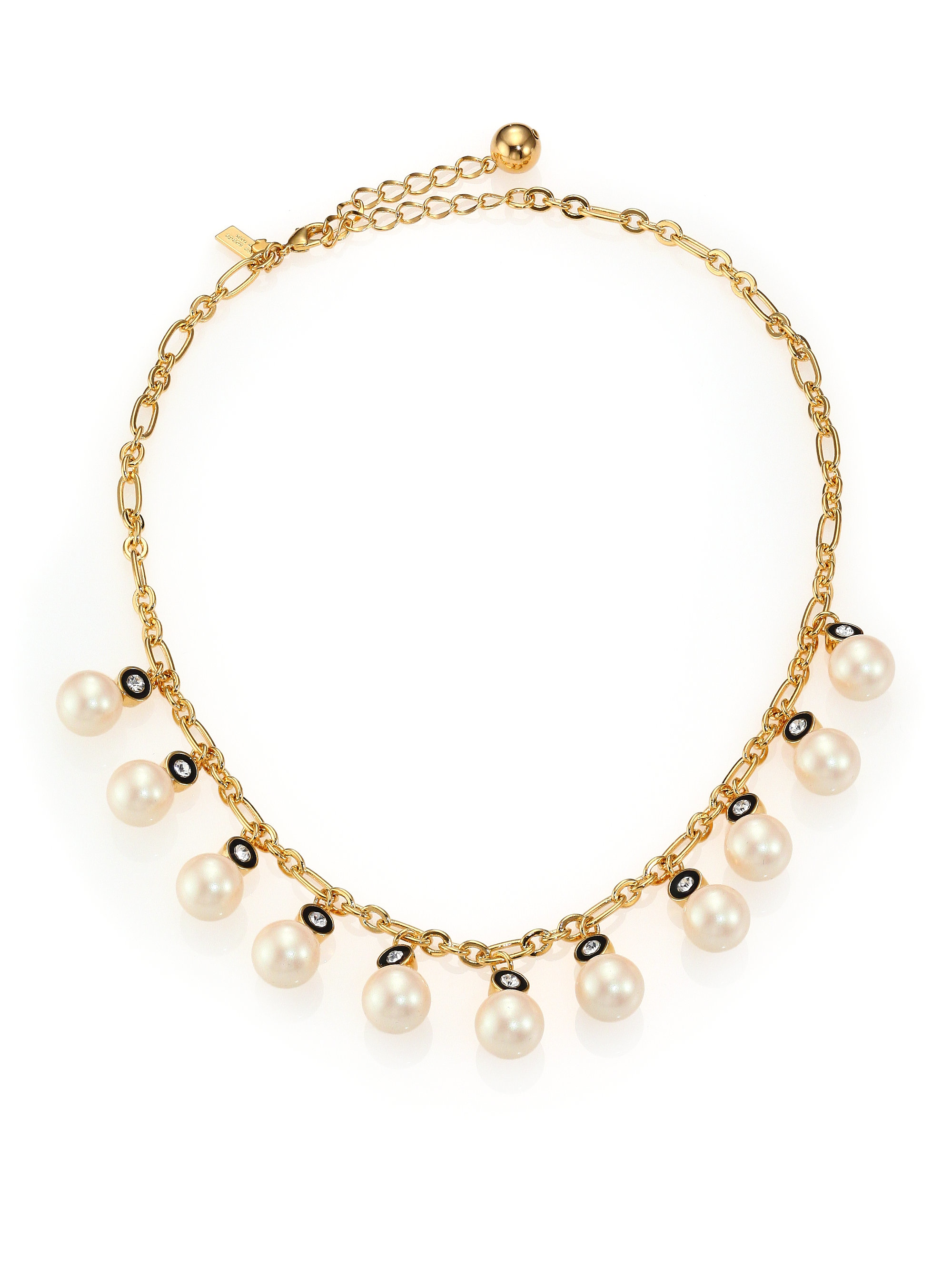 0120690653ac3 kate spade new york Metallic Pearly Delight Faux Pearl Charm Necklace