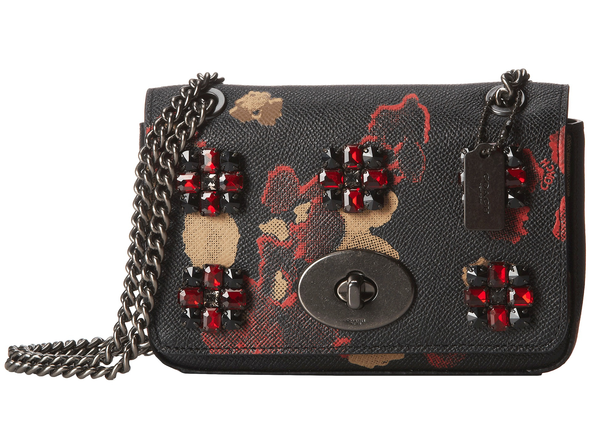 italy lyst coach floral jewels embossed mini chain crossbody in black a51aa  9d6f6 ba6ac5dc03505