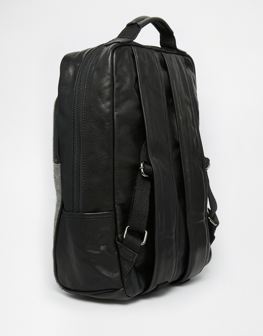 Lyst Asos Leather Backpack In Black With Grey Melton