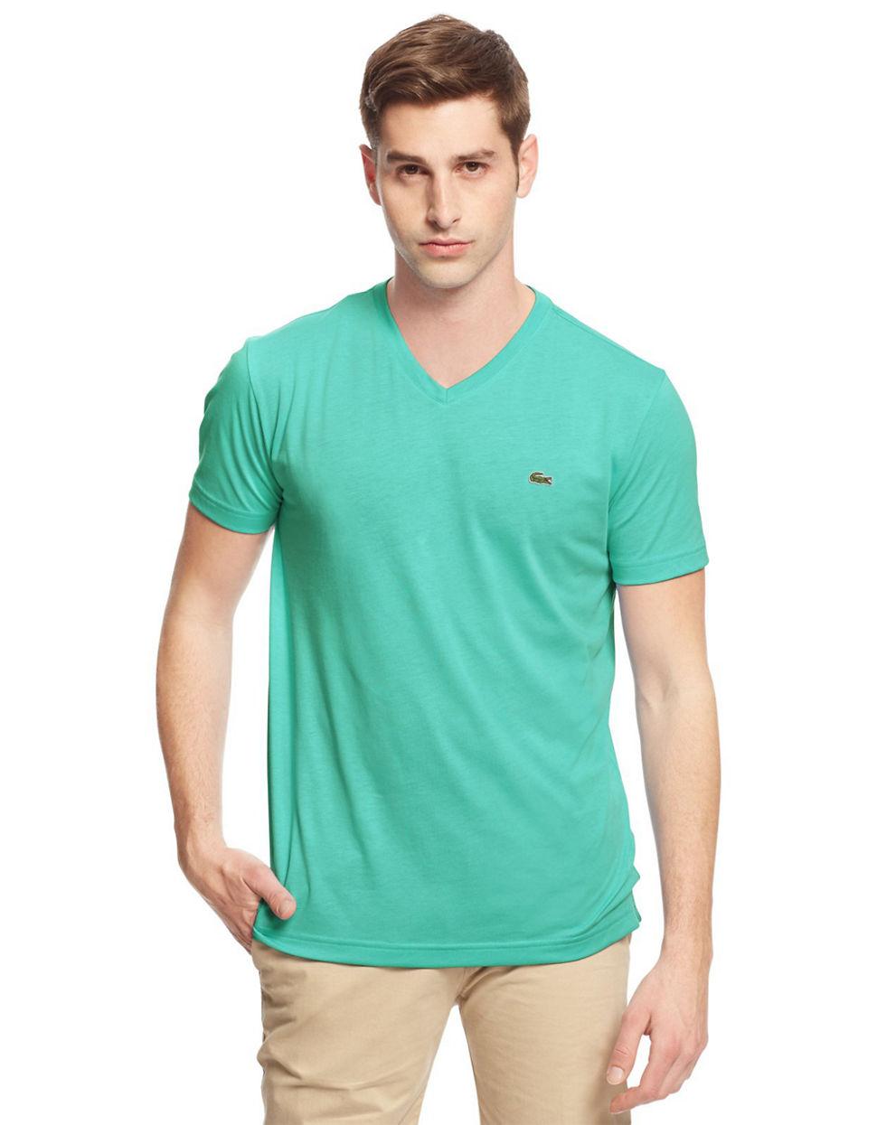 lacoste v neck cotton tee in green for men lyst. Black Bedroom Furniture Sets. Home Design Ideas