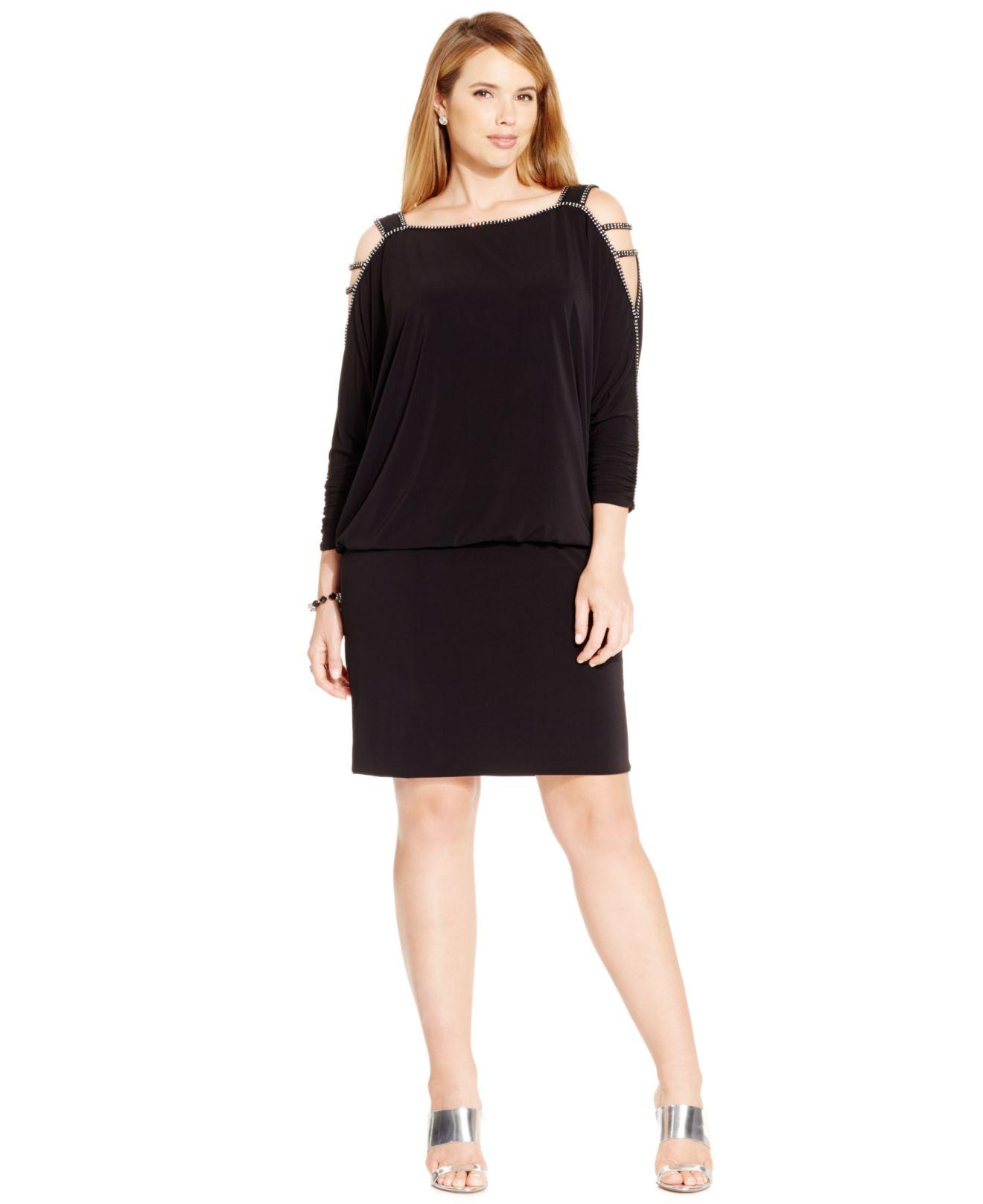 Betsy & Adam Black Plus Size Cold-shoulder Embellished Blouson Dress