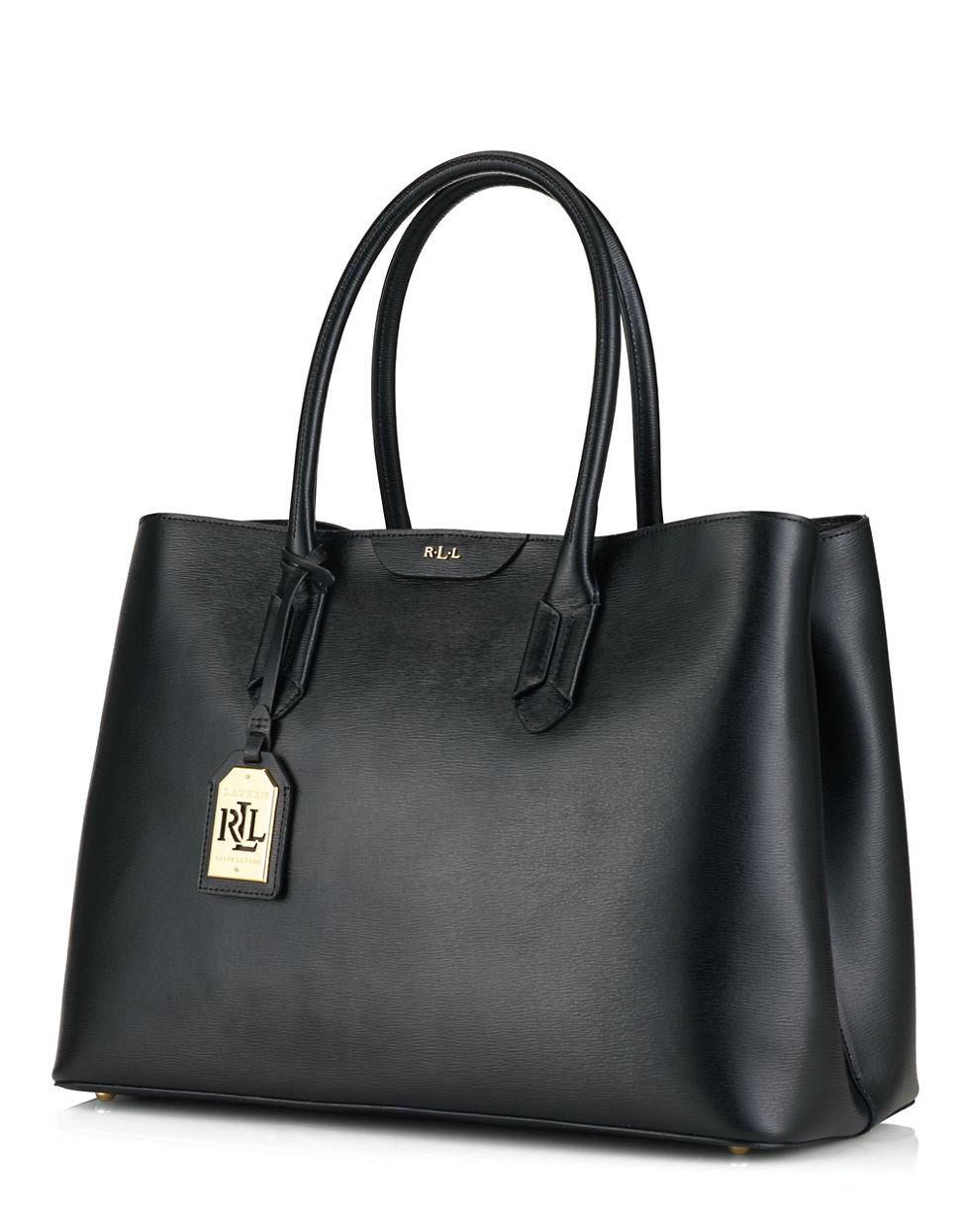 Ralph Lauren Tote Laukku : Lauren by ralph tate leather city tote bag in black
