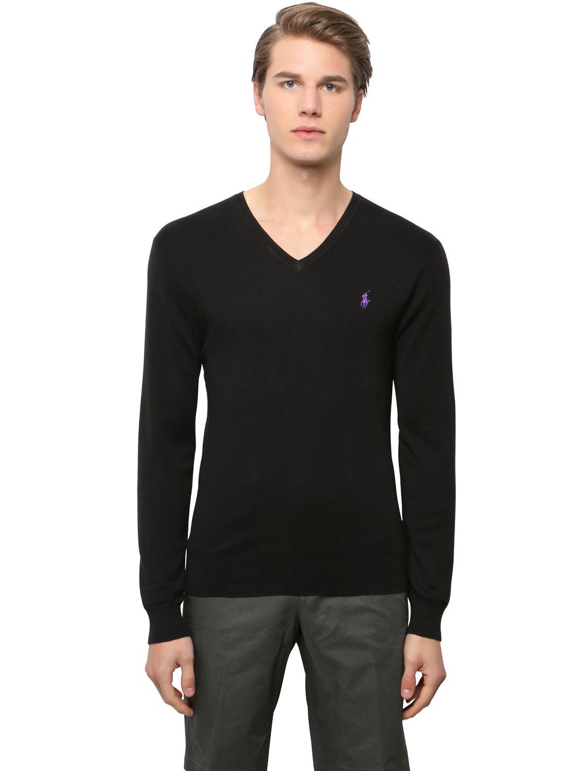 polo ralph lauren slim fit v neck pima cotton sweater in black for men lyst. Black Bedroom Furniture Sets. Home Design Ideas