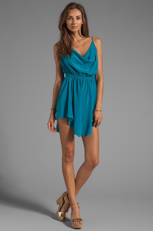 Indah Tahini Waves Silk Crepe Cowl Neck Open Back Short Dress in ...