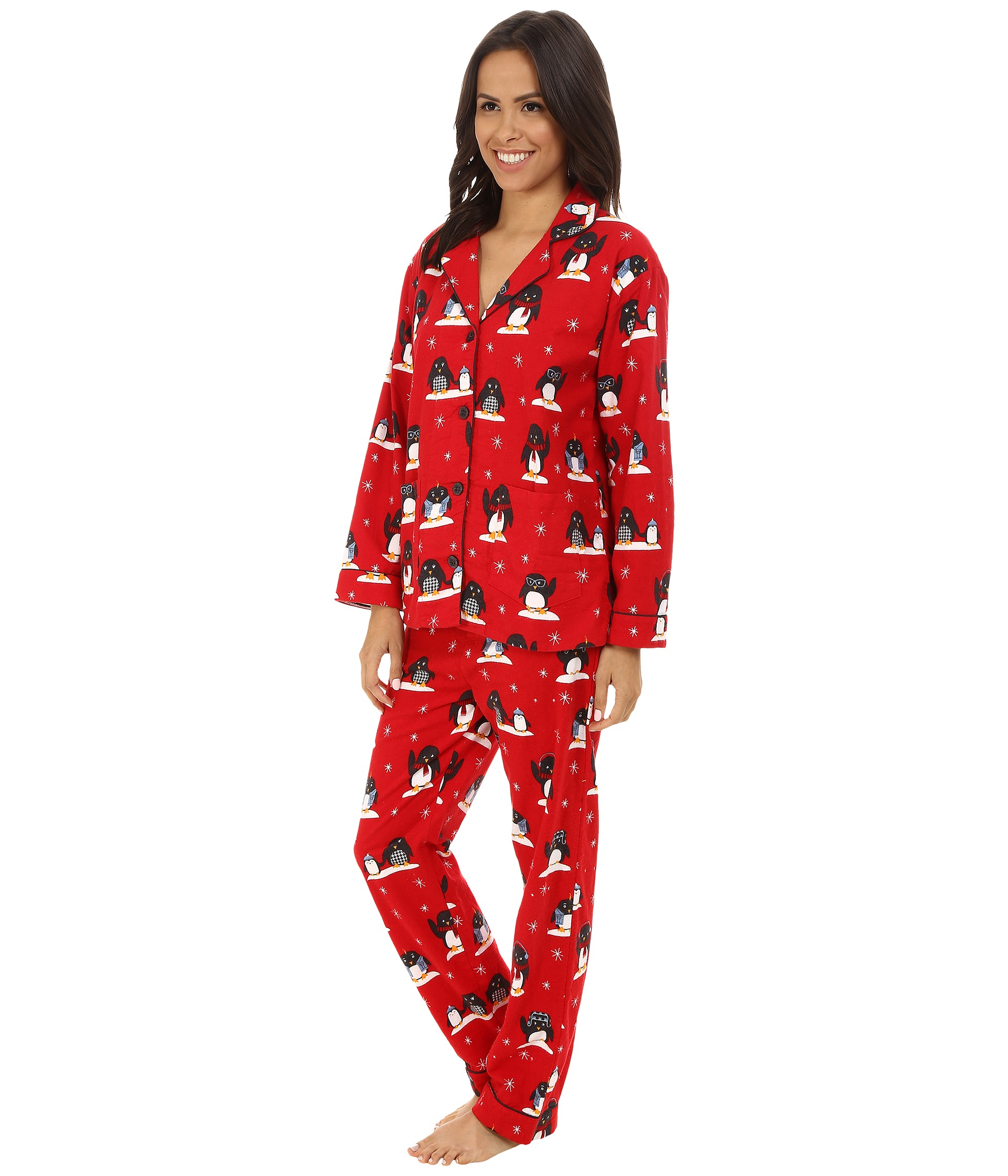 Pj salvage Fall Into Flannel Penguin Print Pajama Set in Red | Lyst