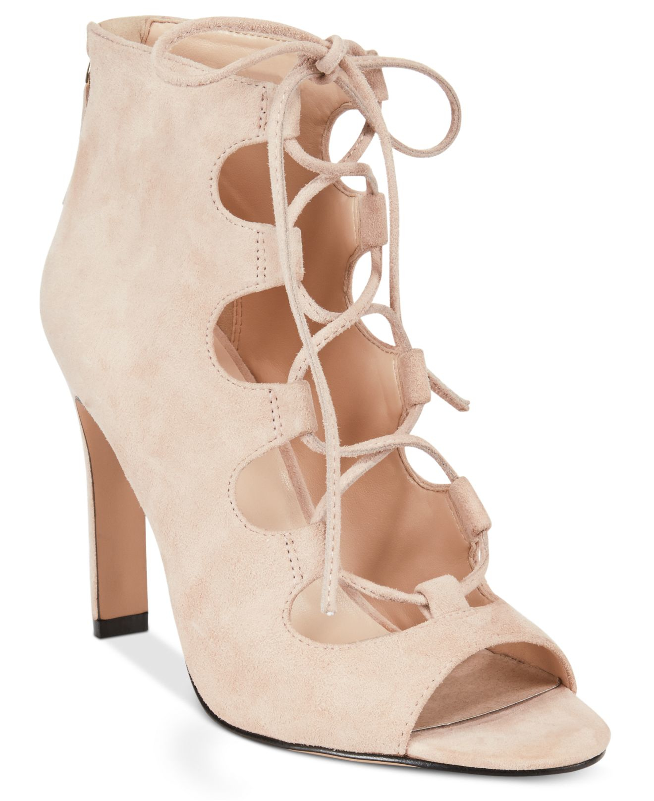 Dress Sandals in Light Pink Suede (Pink