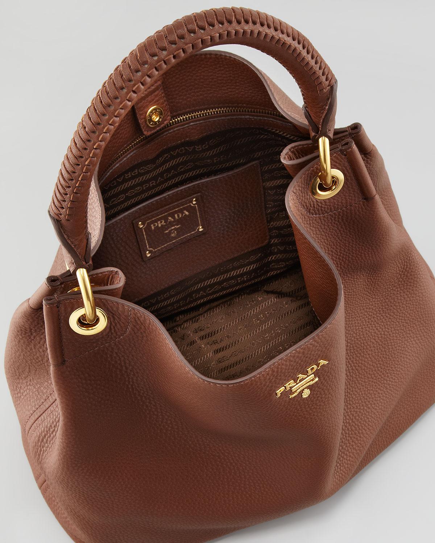 7043be3b31df1e ... usa lyst prada daino woven handle hobo bag in brown a7ae6 8c57f
