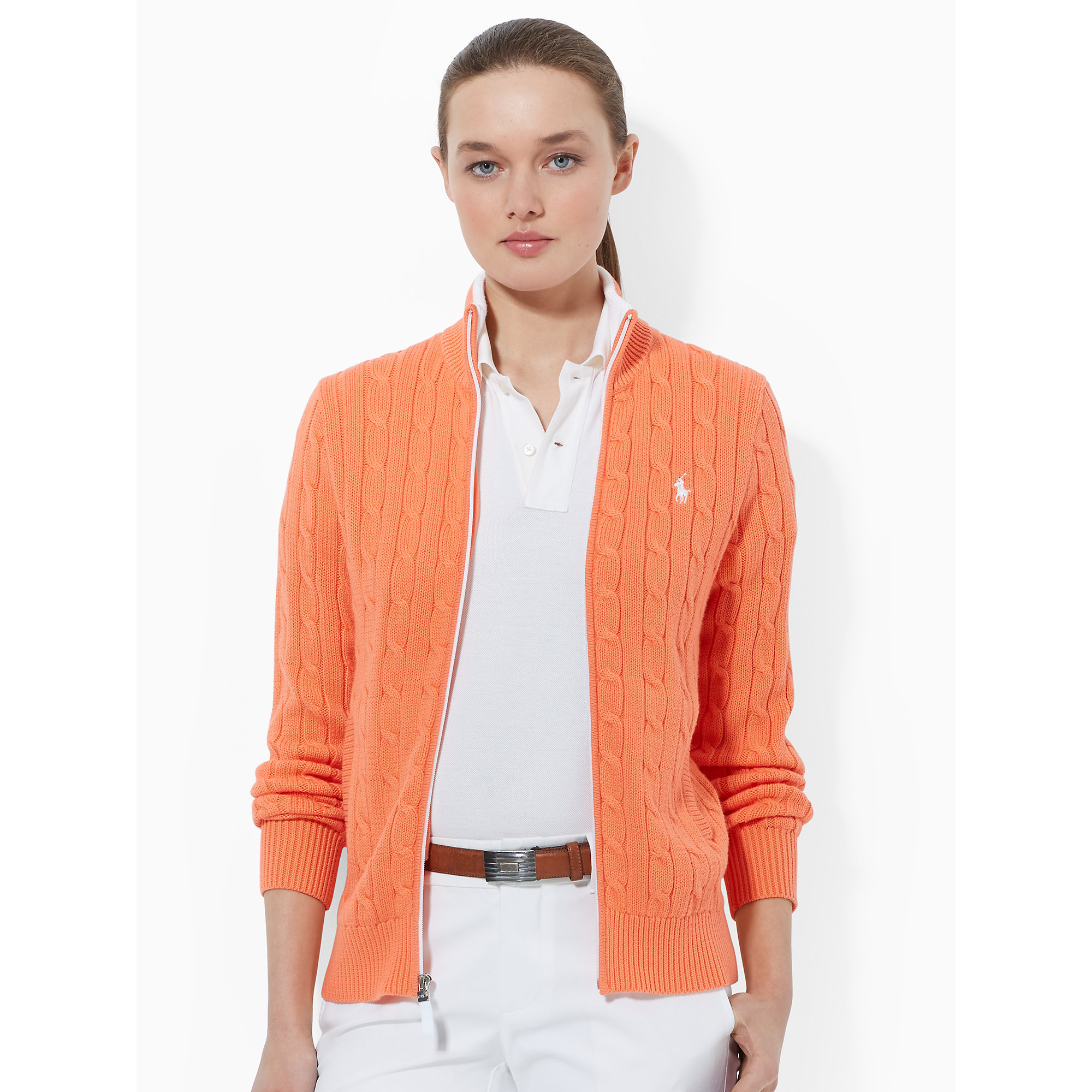 Ralph Lauren Golf Cable Knit Zip Up Sweater In Orange Lyst