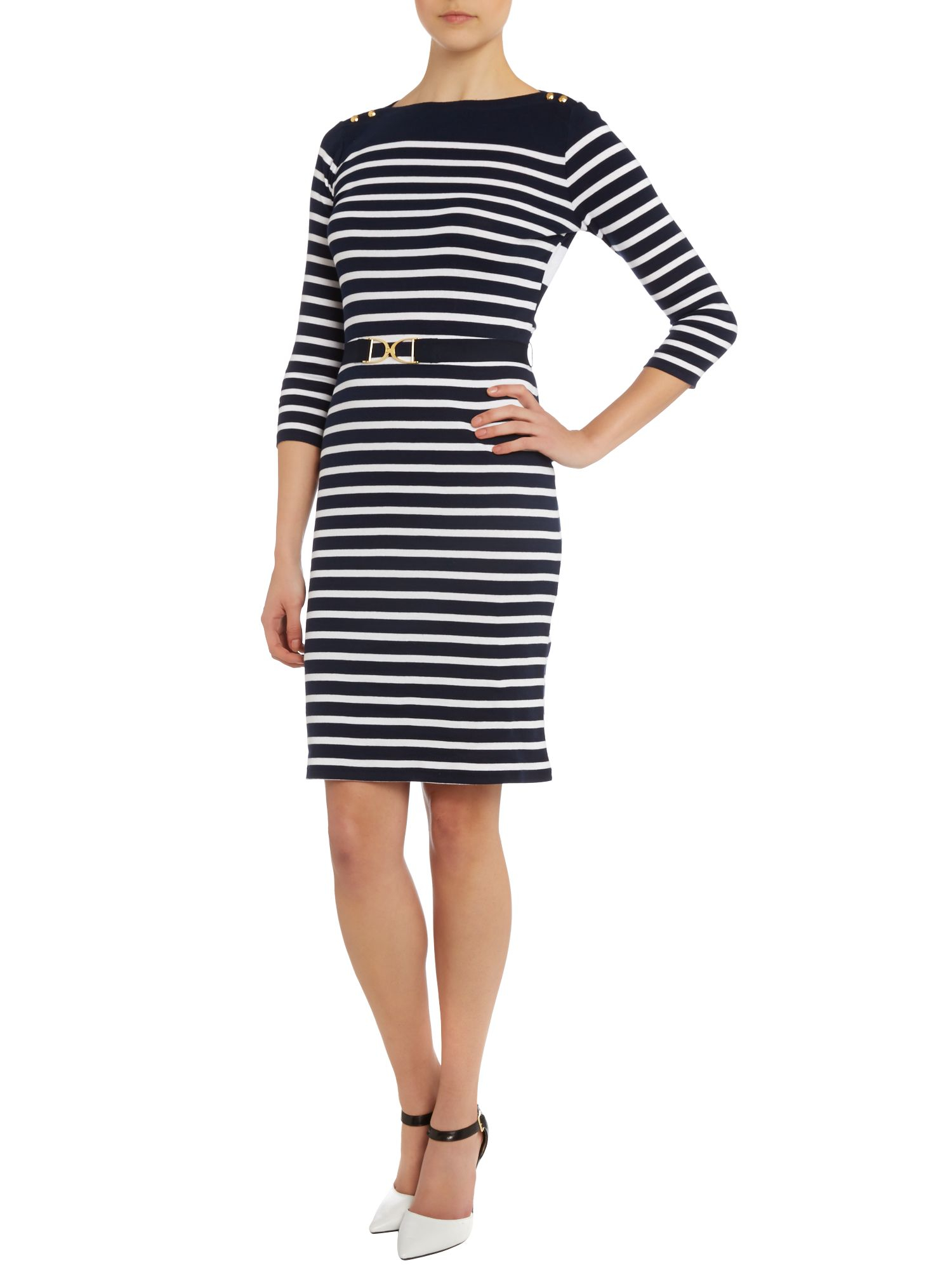 by ralph striped belted dress with button