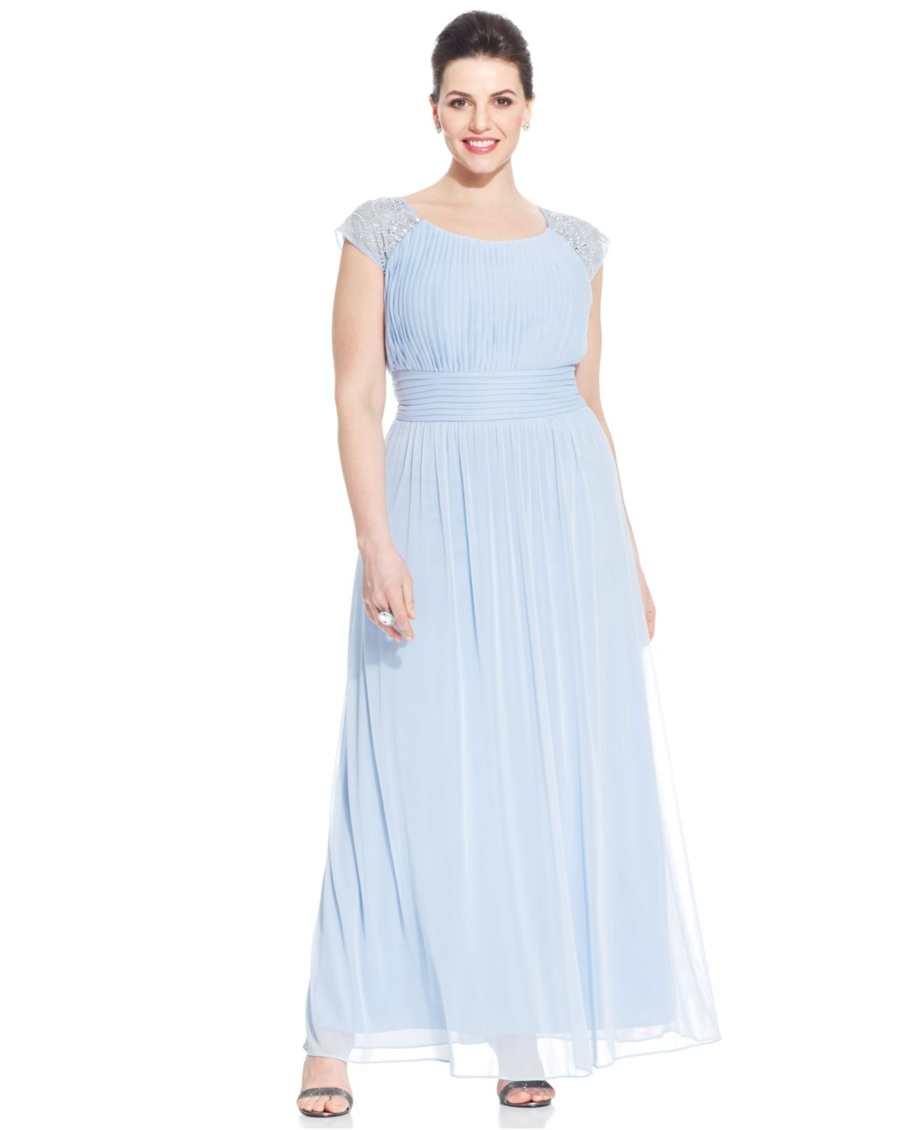 Lyst Patra Plus Size Embellished Cap Sleeve Gown In Blue