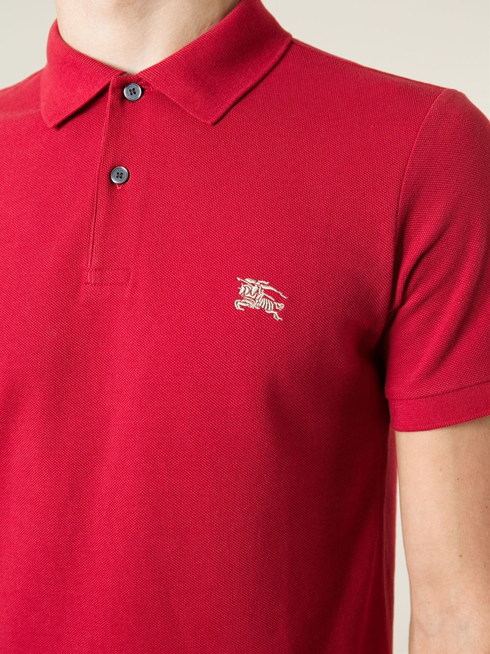 Lyst burberry brit logo embroidered polo shirt in red for Polo shirts with embroidery