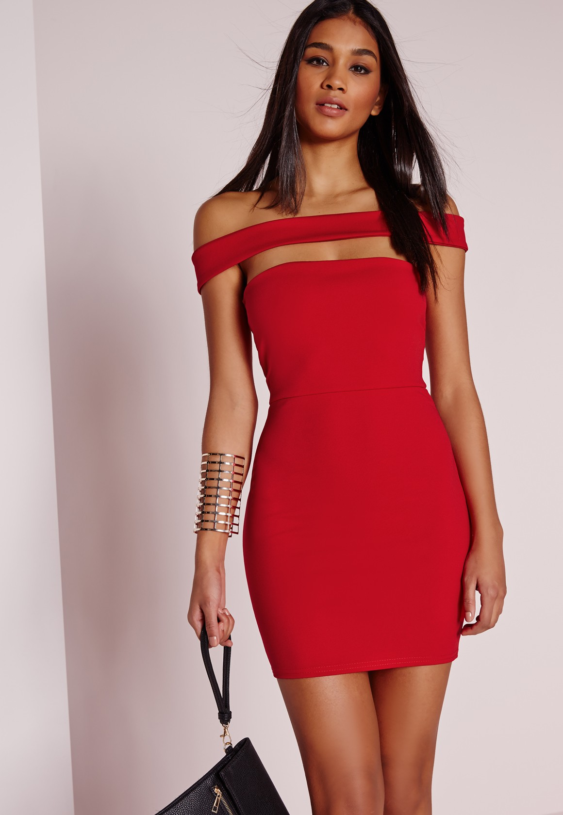 Day red bodycon cutout dress girls
