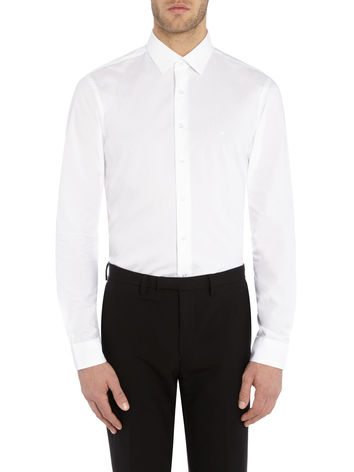 Calvin klein long sleeved slim fit bari shirt in white for for Calvin klein athletic fit dress shirt