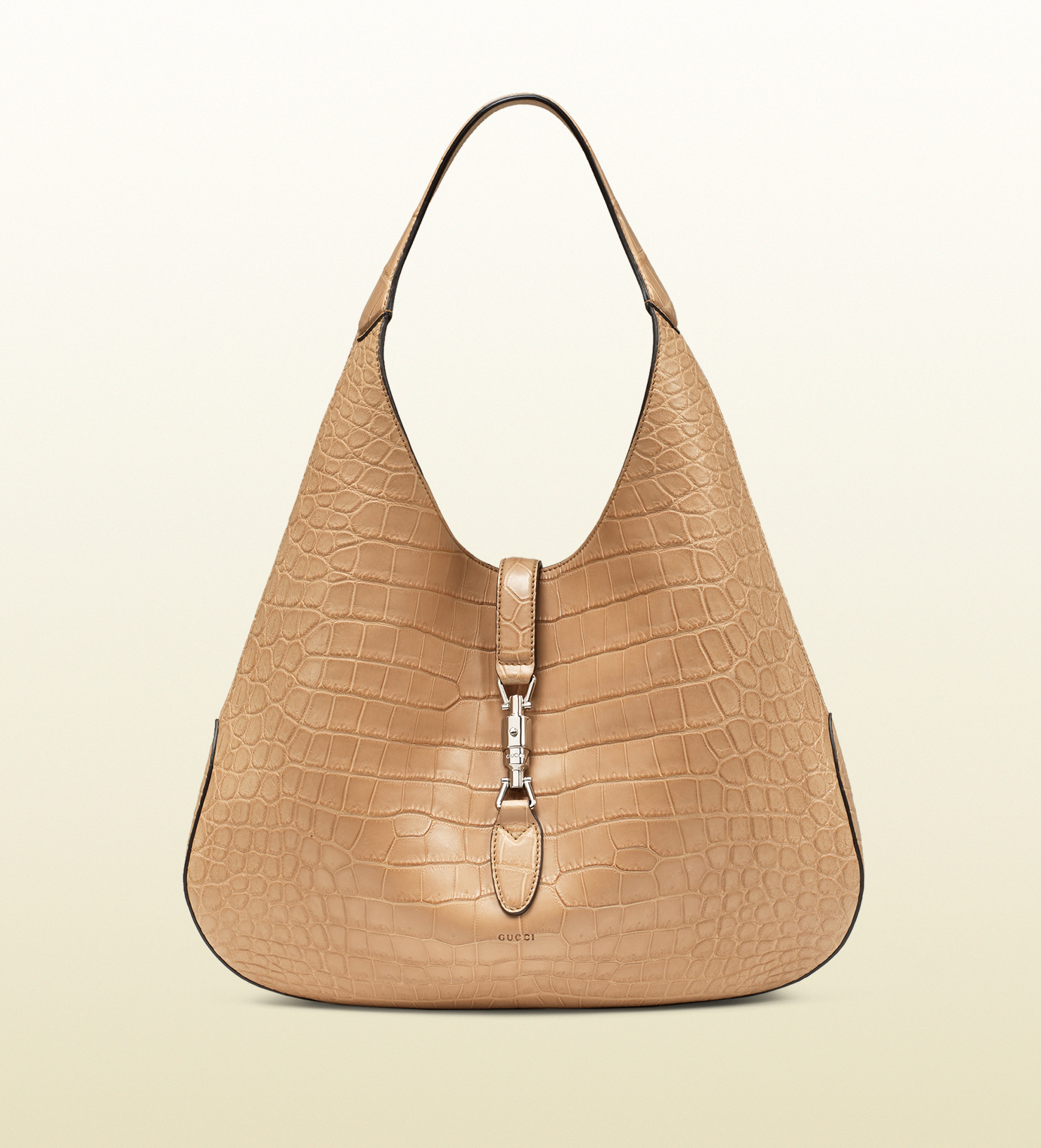 148ce81b4 Gucci Jackie Soft Crocodile Hobo in Natural - Lyst