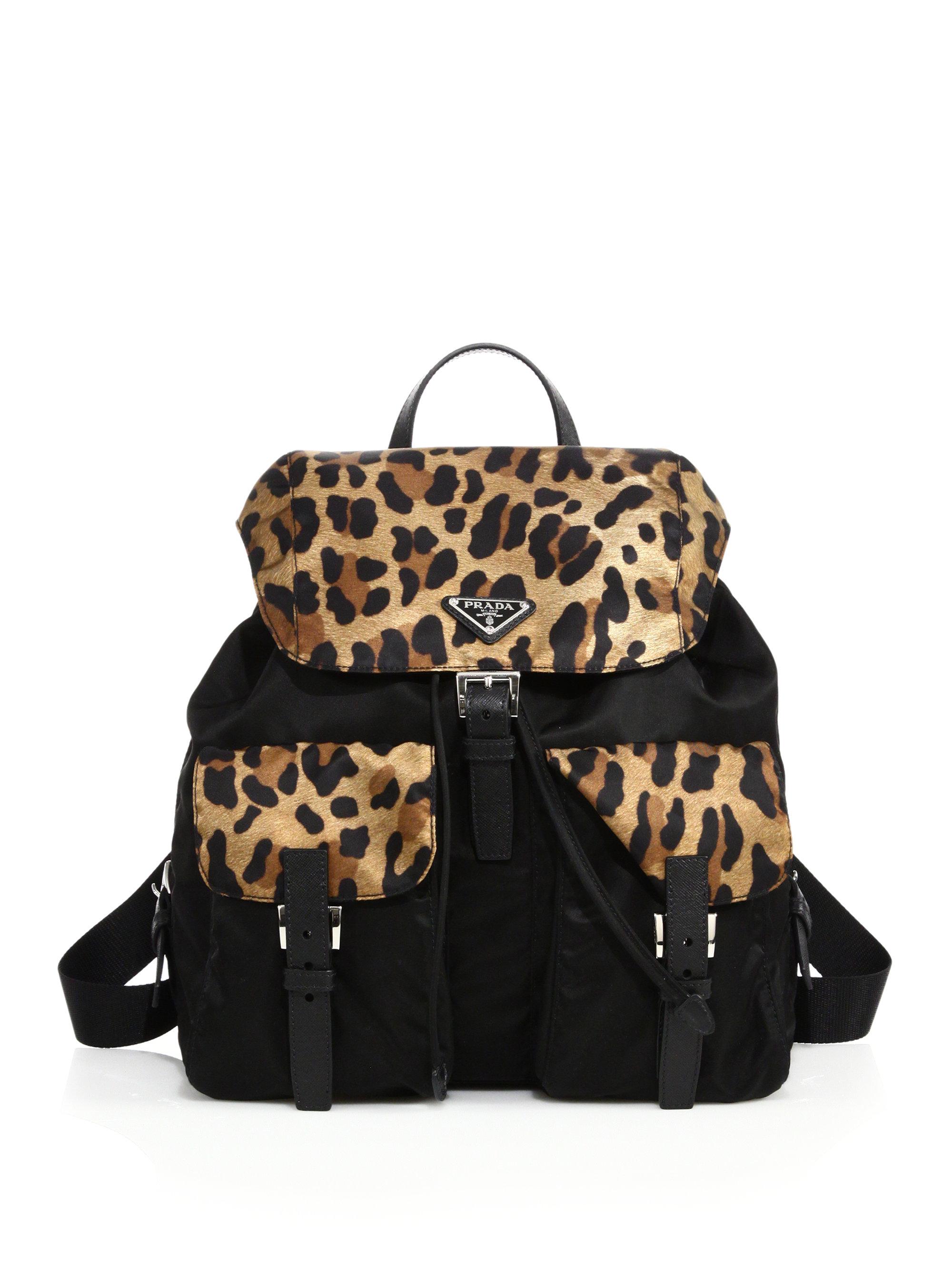 5fee359f41cd ireland lyst prada leopard print nylon backpack in black 77196 41bcc