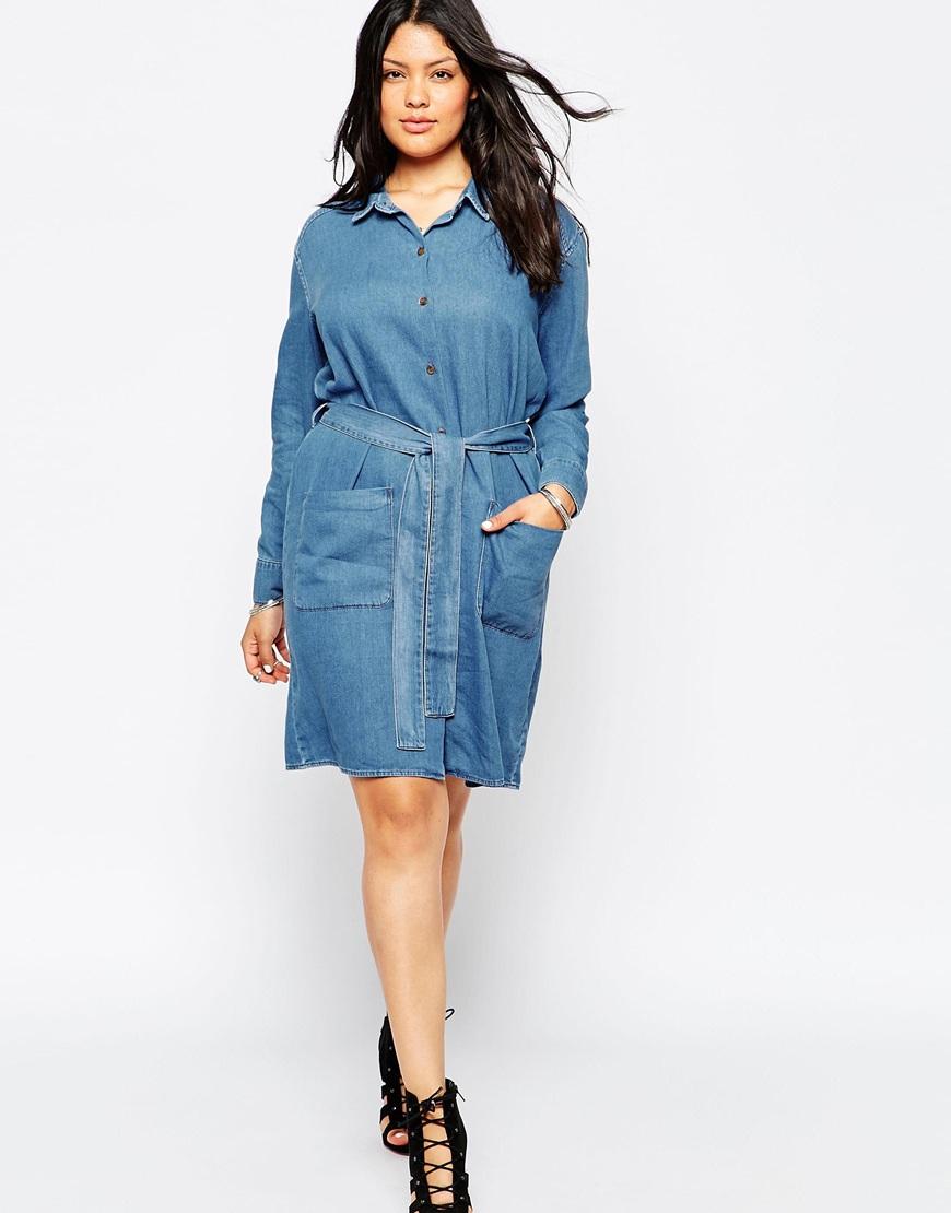 asos curve denim shirt dress with belt in blue lyst