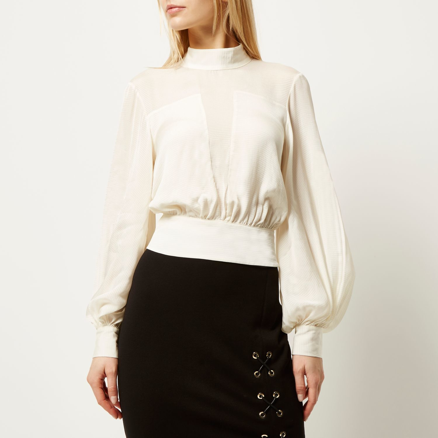 Stand Neck Blouse Designs : High neck cream blouse black dressy blouses