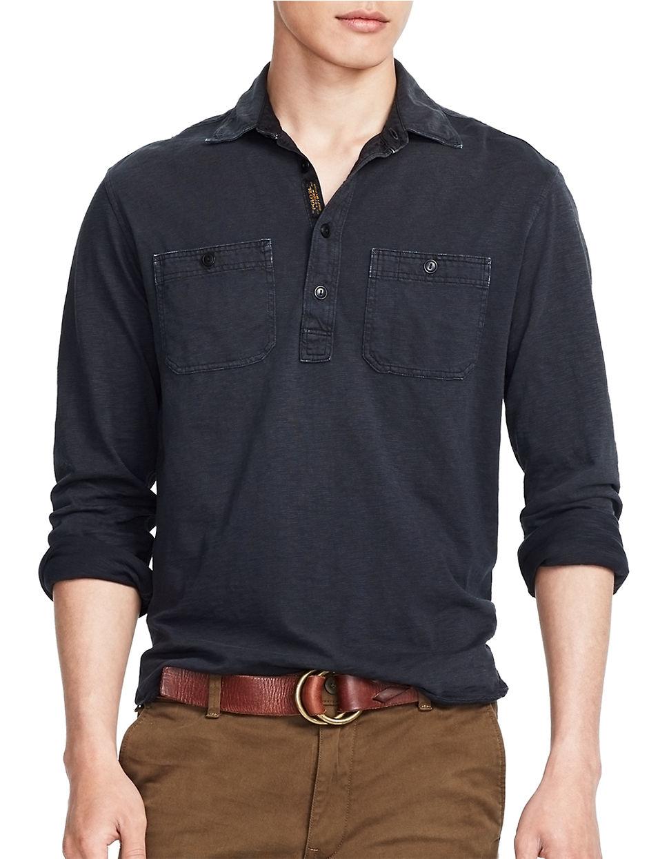 polo ralph lauren jersey pullover sportshirt in black for men lyst. Black Bedroom Furniture Sets. Home Design Ideas