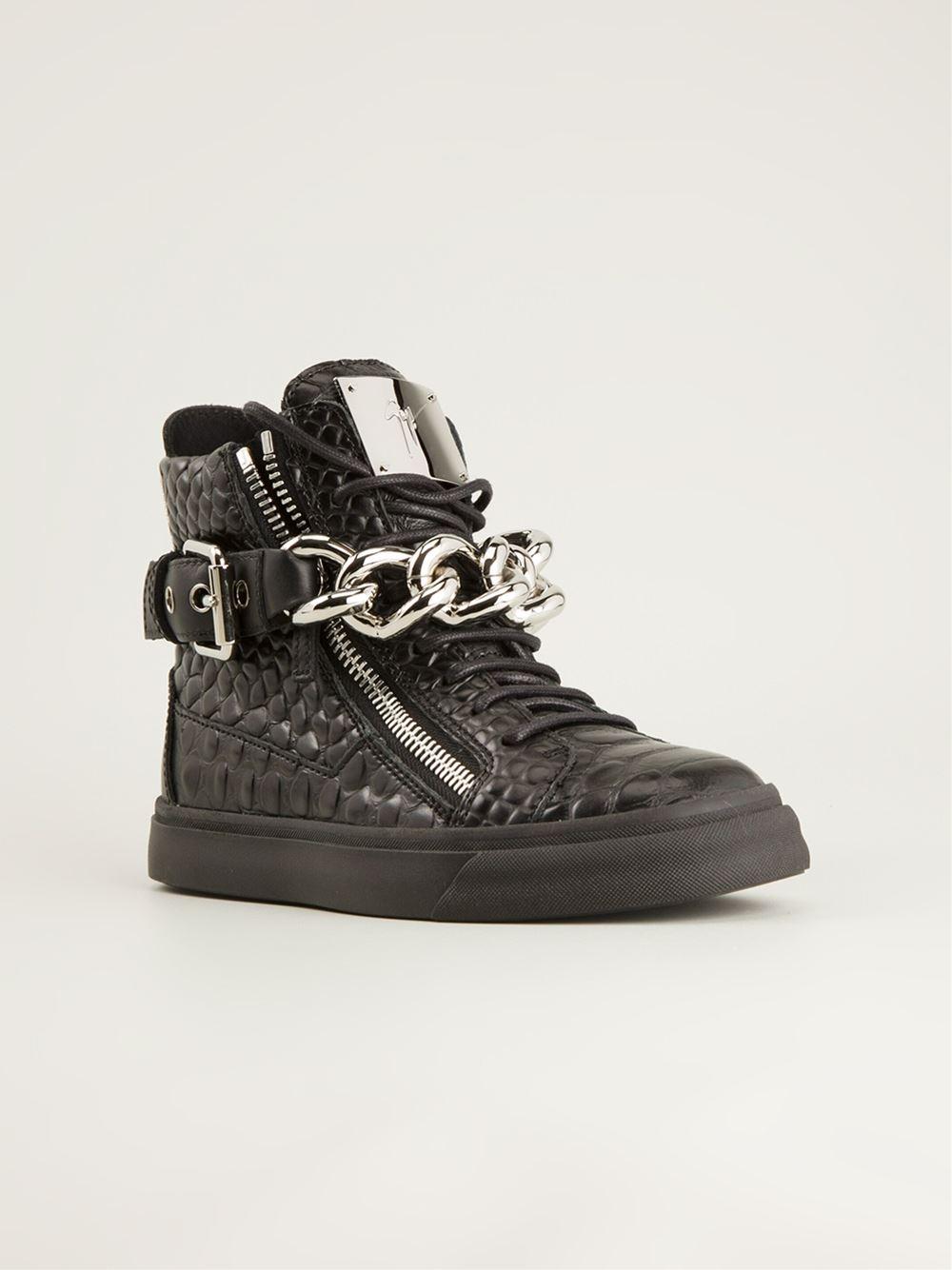 giuseppe zanotti chain detail hi top sneakers in black lyst. Black Bedroom Furniture Sets. Home Design Ideas