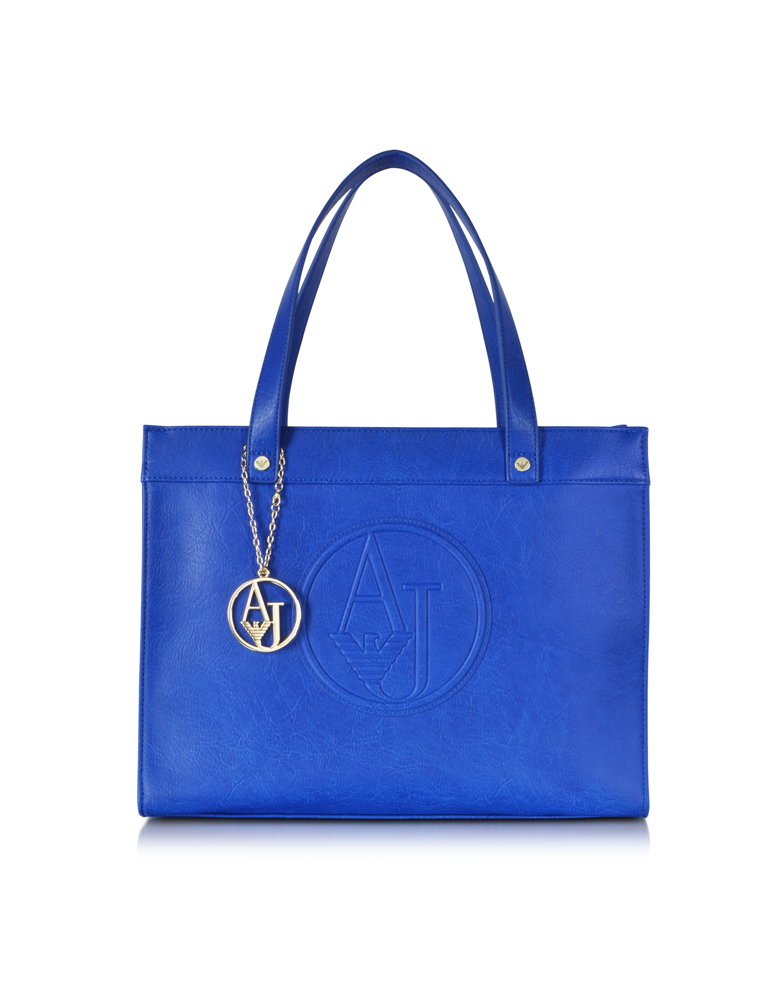 Armani Jeans Eco Leather Medium Tote Bag in Blue (Royal Blue)