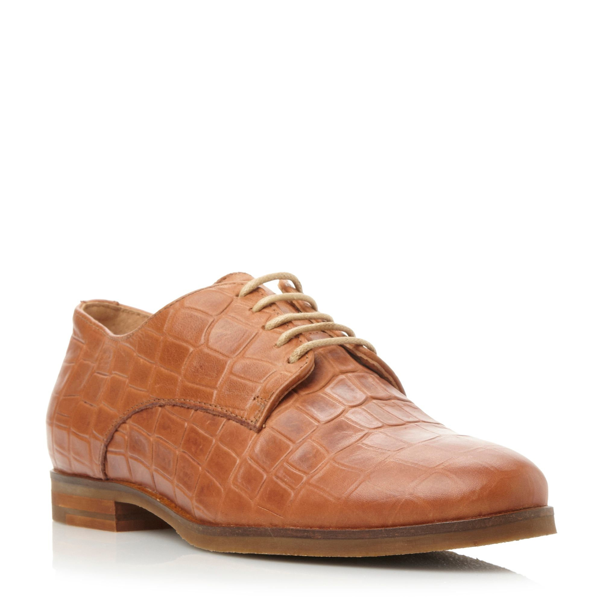 Dune Laboux Leather Round Toe Flat Lace Up Shoes In Brown   Lyst