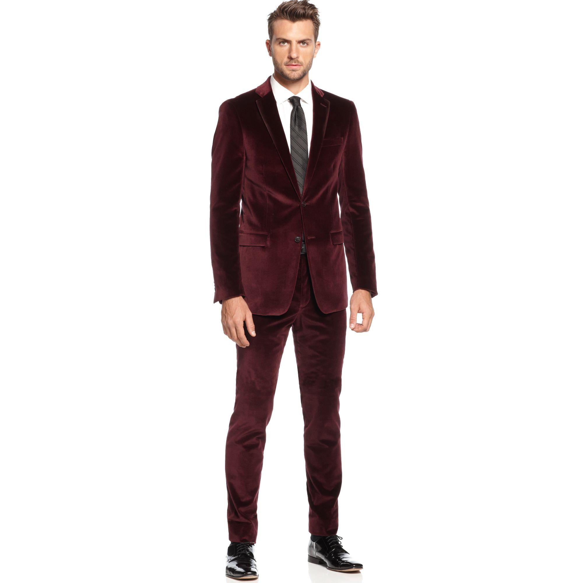 Calvin klein Maroon Velvet Slim Fit in Red for Men | Lyst