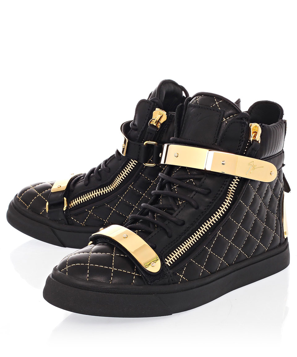 a416fe2a75707 Giuseppe Zanotti Black Amazon Quilt Gold Leather Trainers