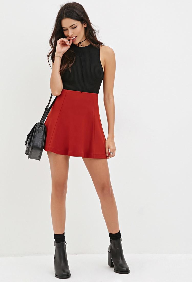 Forever 21 Mini Skater Skirt in Red | Lyst
