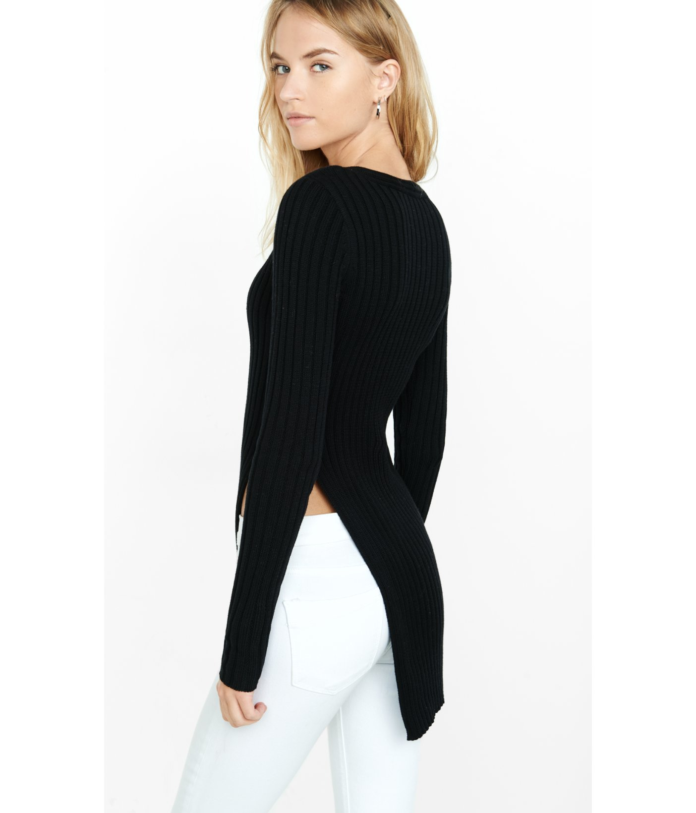 Express Ribbed Deep V-neck High Slit Tunic Sweater in Black | Lyst