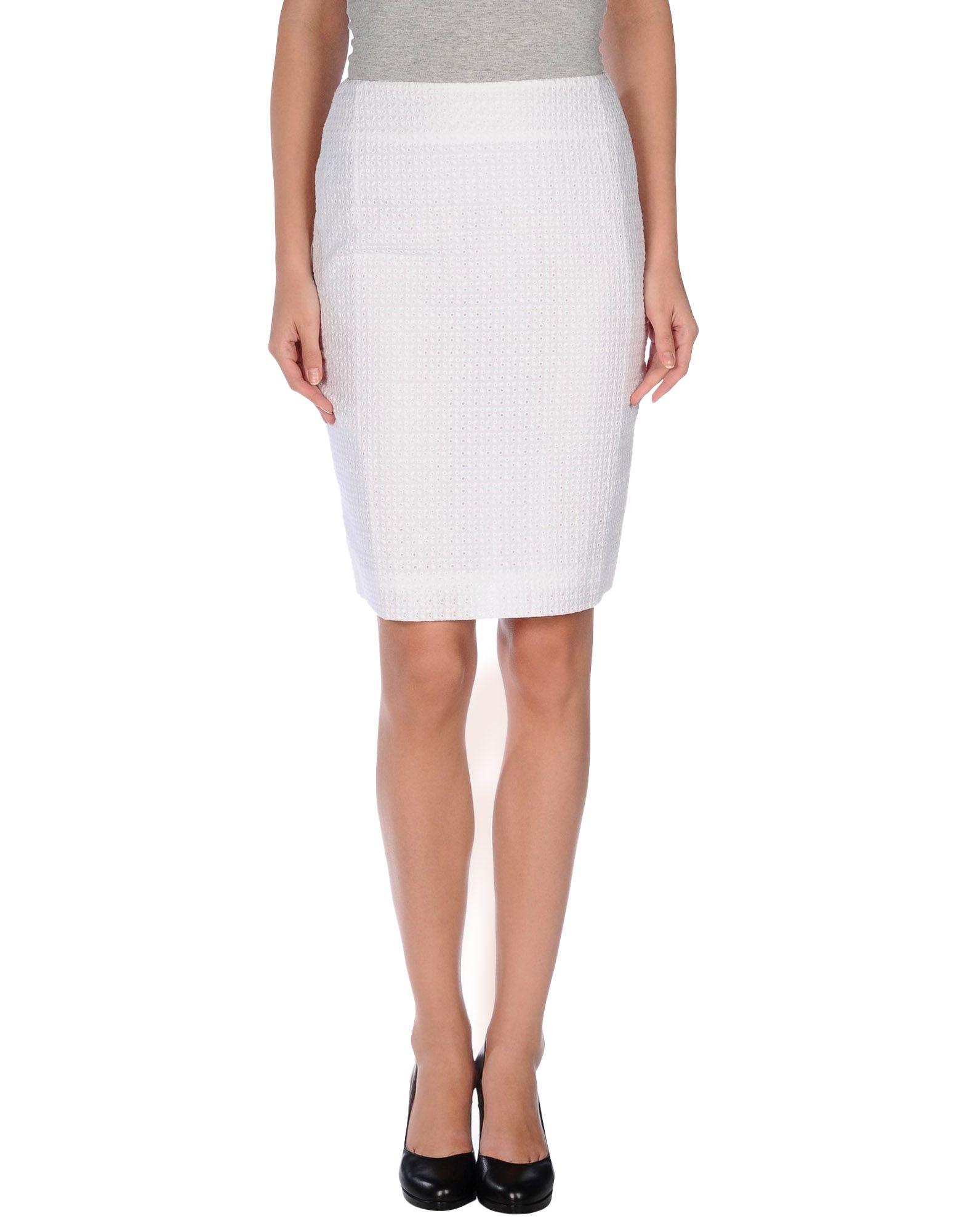 metradamo knee length skirt in white save 74 lyst