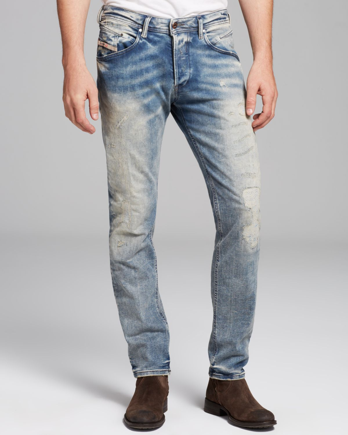 Diesel Jeans Belther Slim Fit in Ghostface in Blue for Men | Lyst