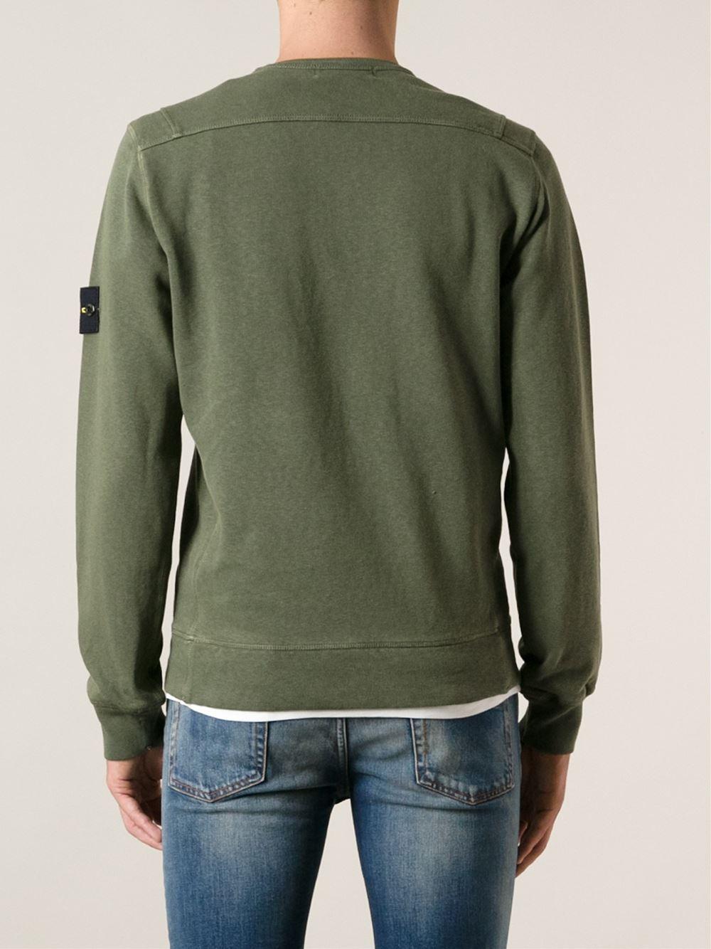 Lyst Stone Island Crew Neck Sweatshirt In Green For Men