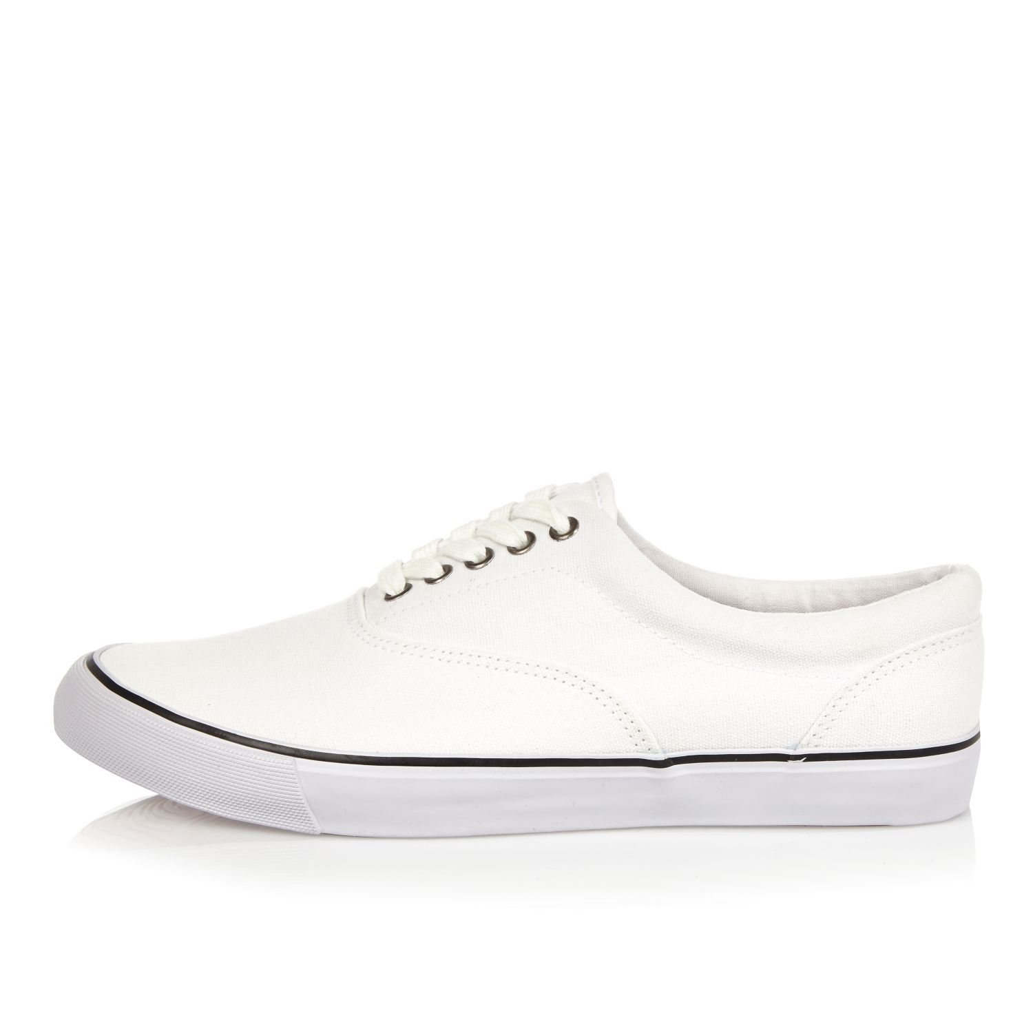 river island white canvas plimsolls in white for lyst