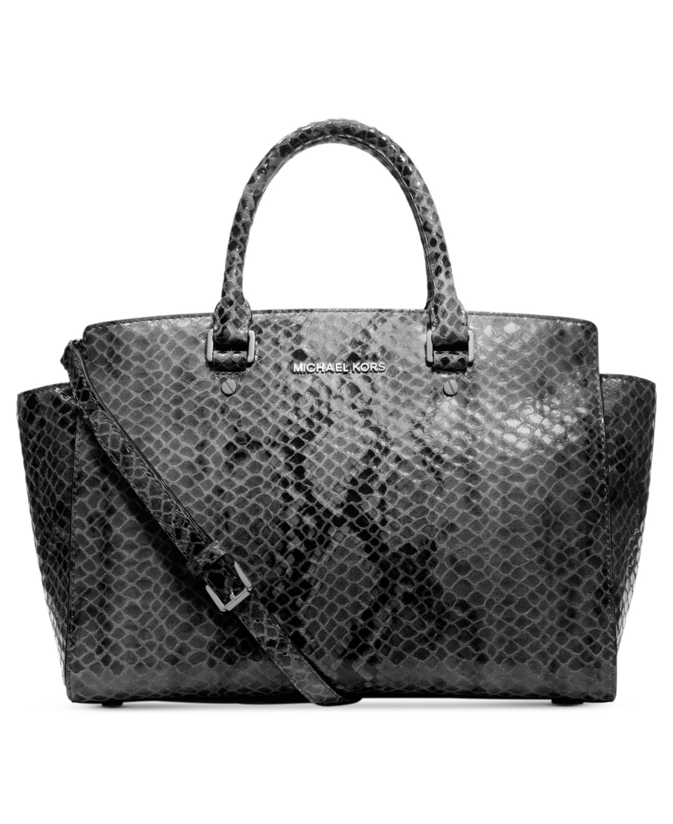 michael kors michael selma large python satchel in gray dk slate lyst. Black Bedroom Furniture Sets. Home Design Ideas