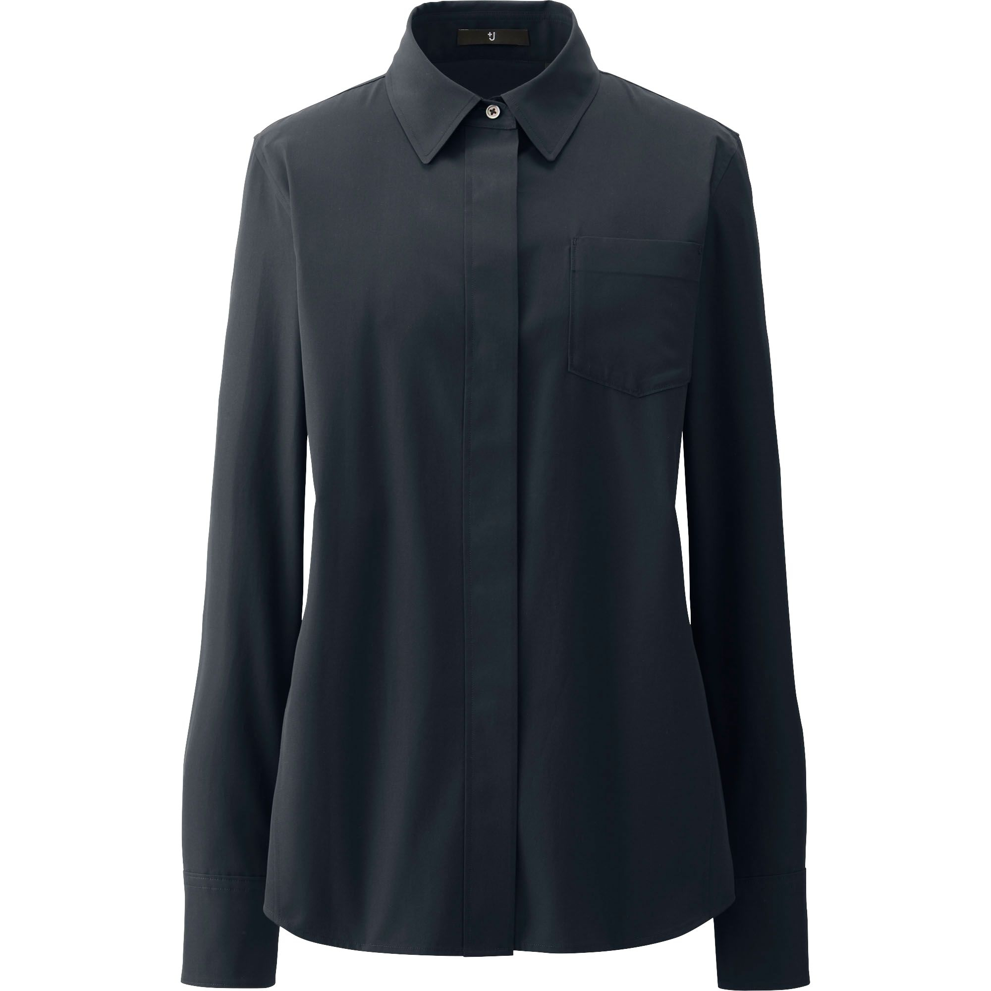 Uniqlo j extra fine cotton slim fit long sleeve shirt in for Black fitted long sleeve t shirts