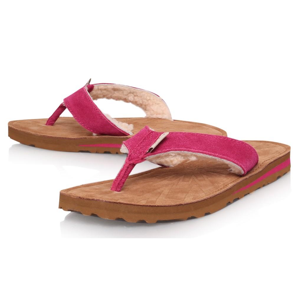 d0889c30618 UGG Pink Tasmina Suede Flat Toe Post Flip Flops