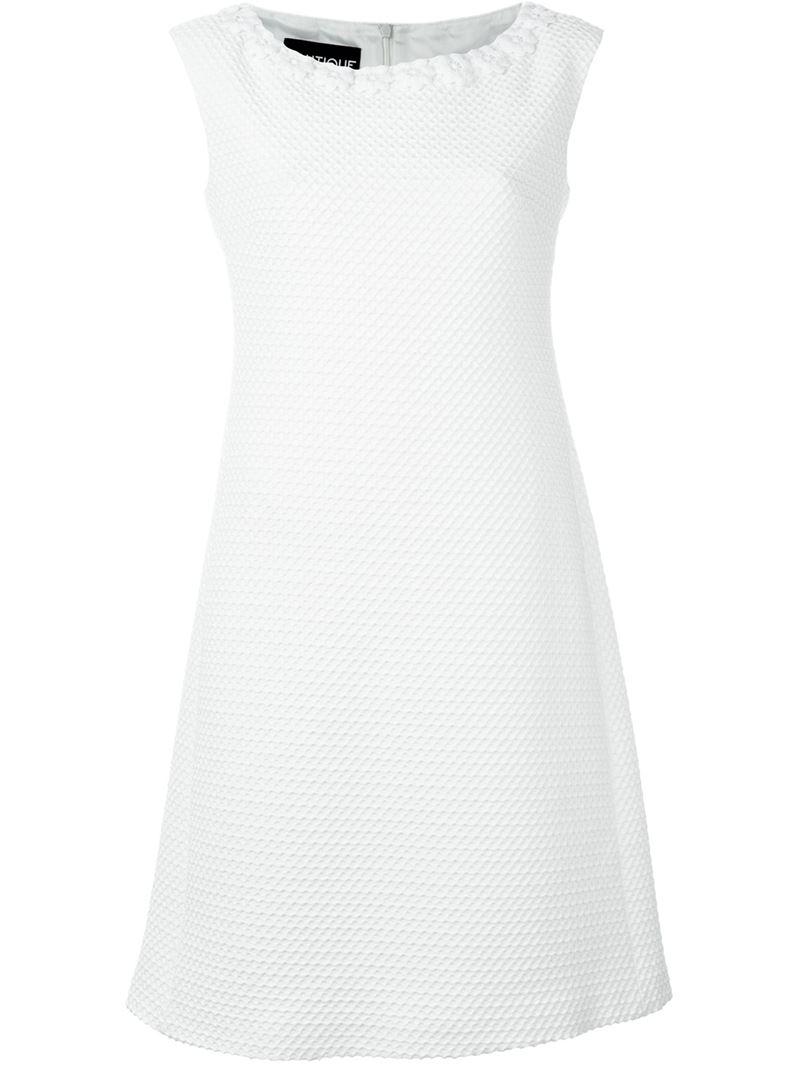 Lyst Boutique Moschino Flower Appliqu Cotton Blend Dress In White