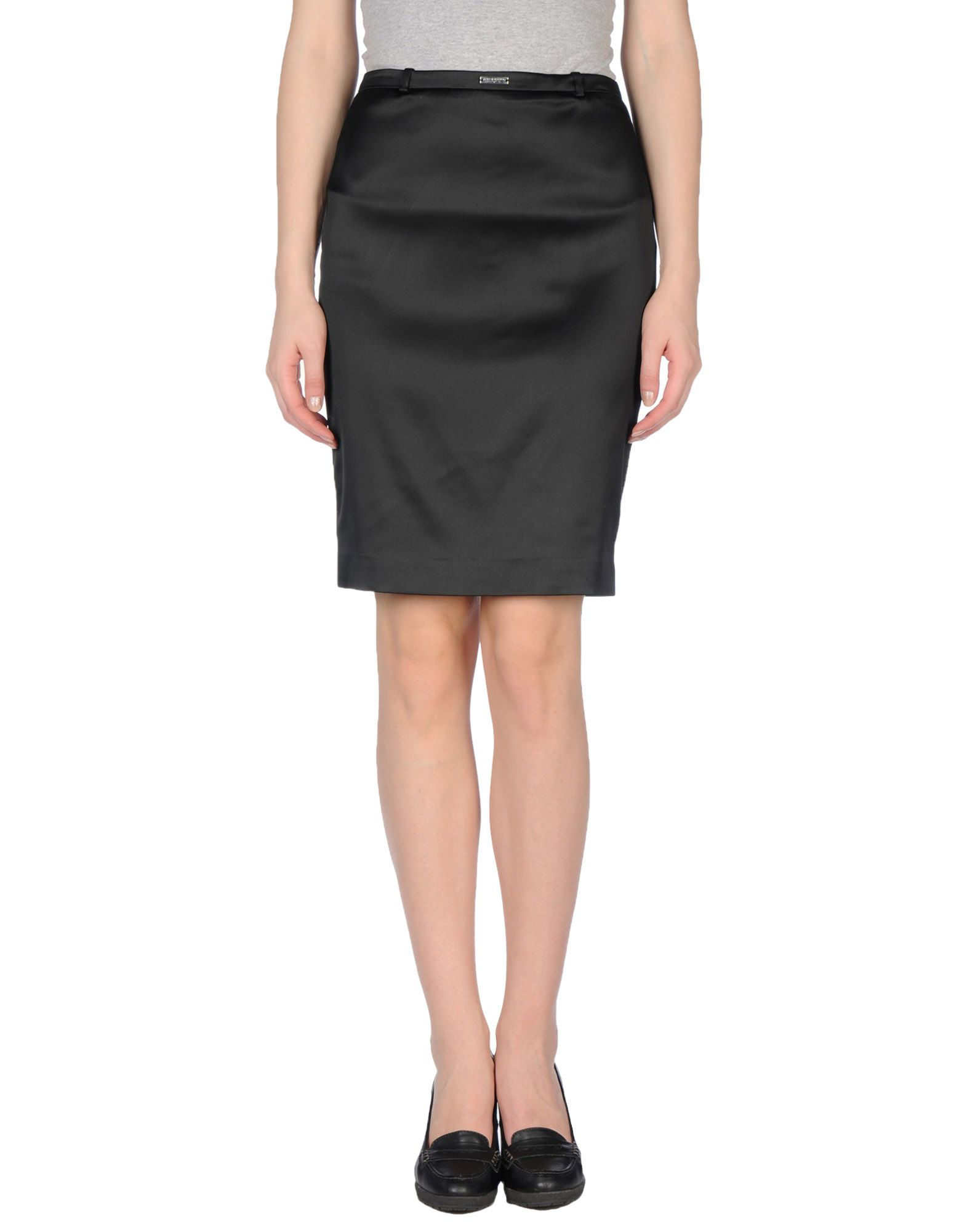 richmond denim knee length skirt in black lyst