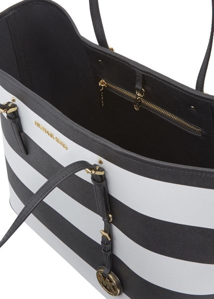 michael kors jet set striped saffiano leather tote in