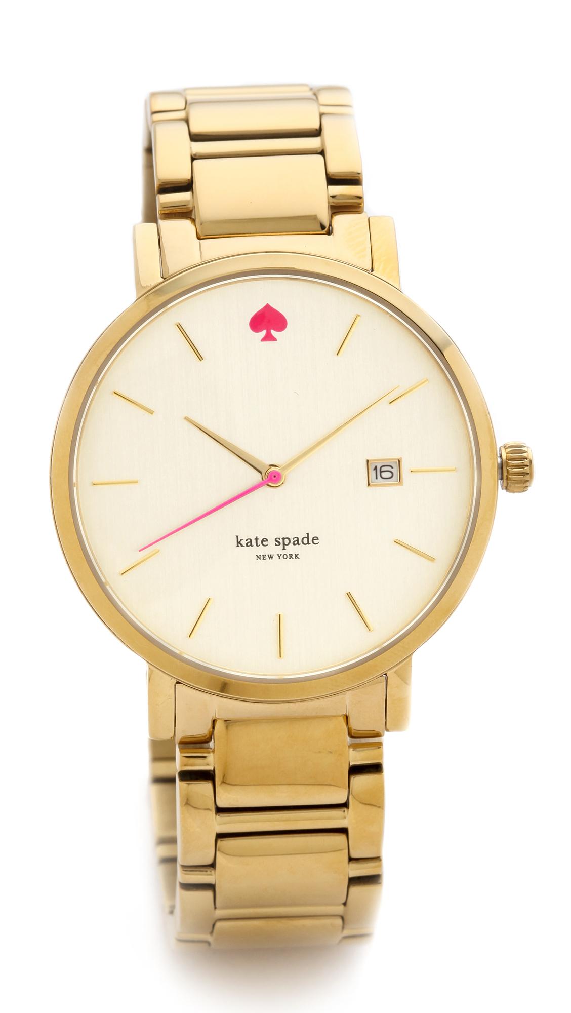 Kate Spade Gramercy Grand Bracelet Watch In Gold Lyst
