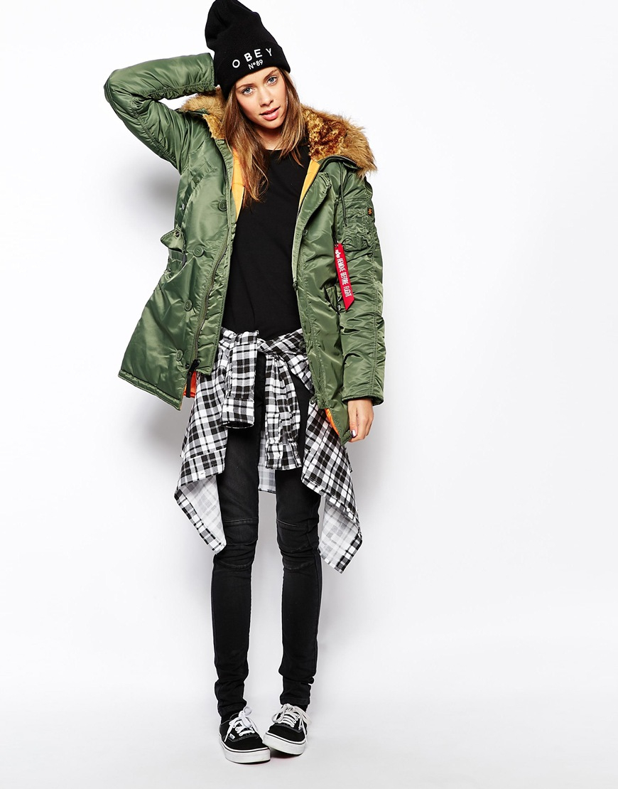 alpha industries n3b parka coat with faux fur hood in. Black Bedroom Furniture Sets. Home Design Ideas