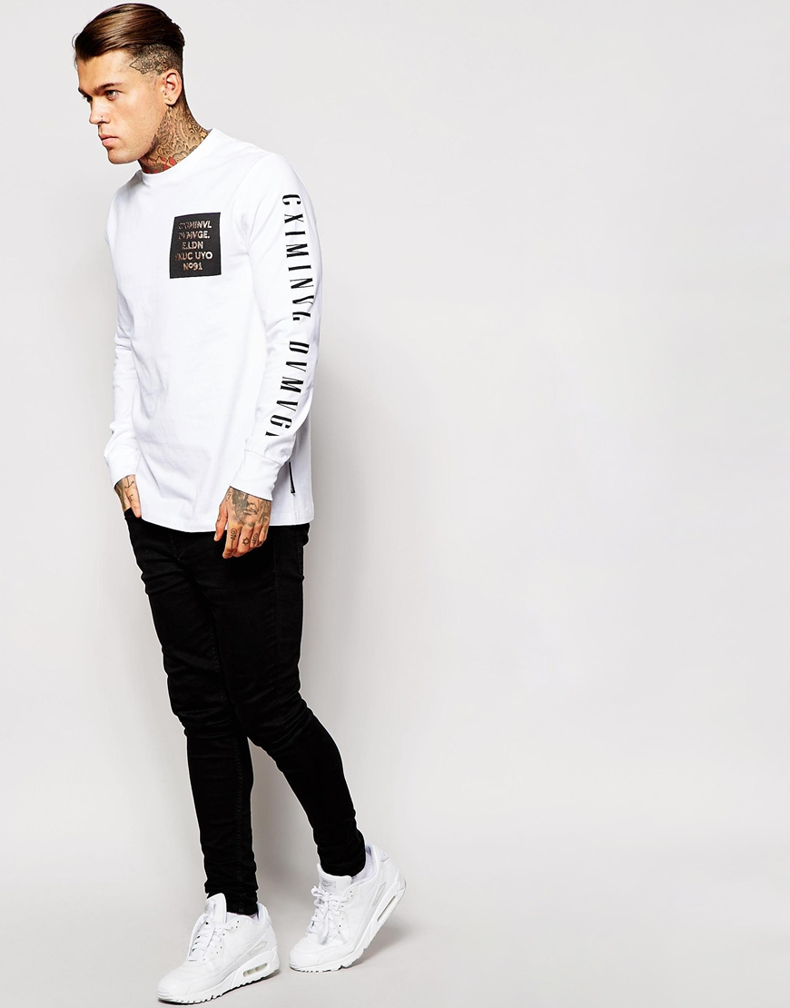 Lyst criminal damage long sleeve t shirt with sleeve for Long sleeve printed t shirts