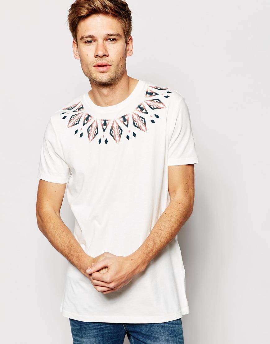 6800689ea487 Lyst - ASOS T-shirt With Geo-tribal Yoke Print in White for Men