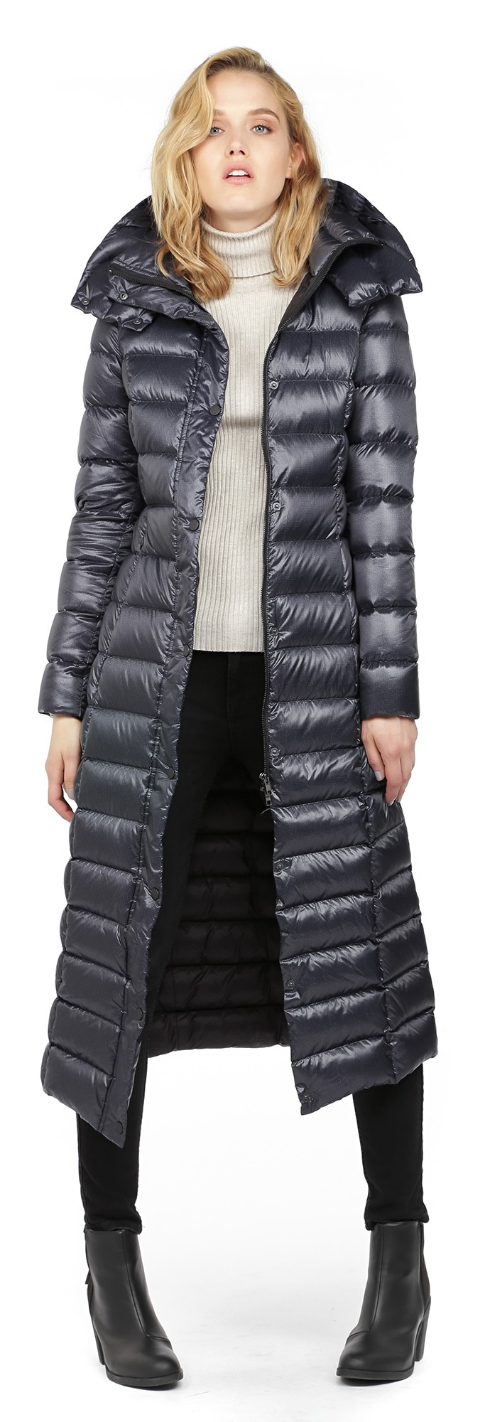 9ebaa4ca3 SOIA & KYO Blue Lyra Midnight Long Light Down Coat With Large Hood