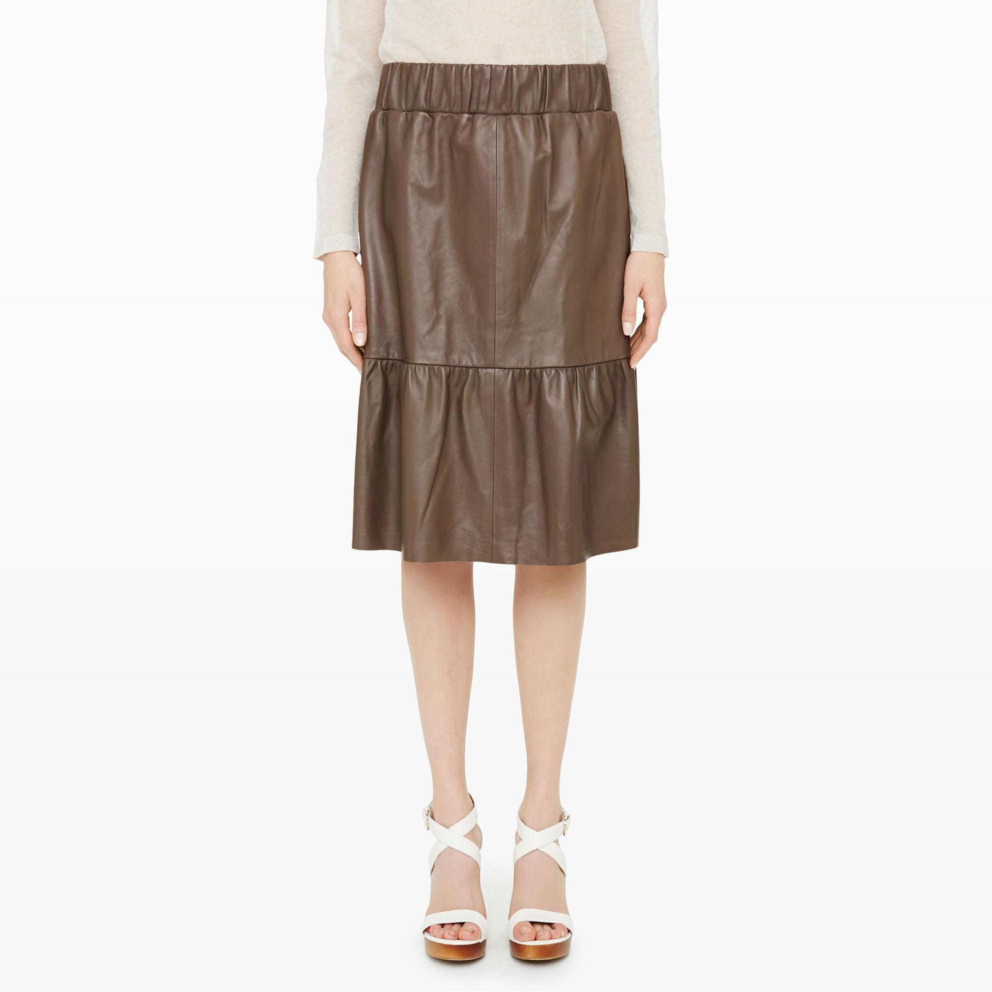 club monaco velda leather skirt in green lyst