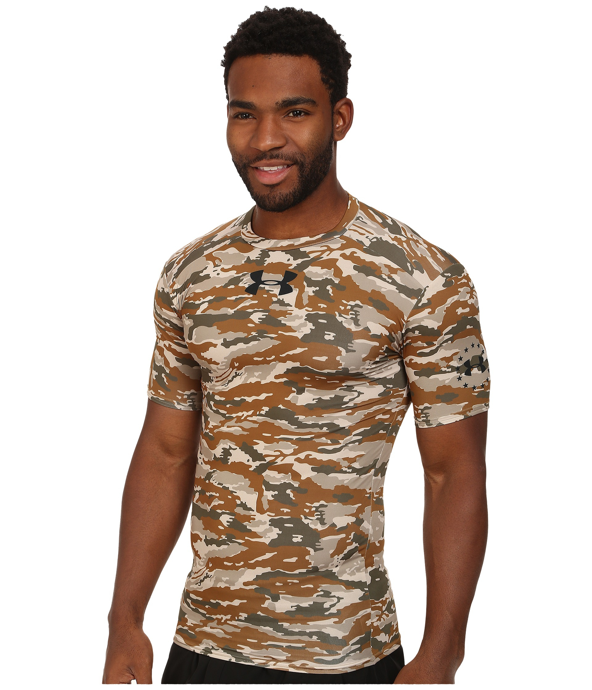 3247b769 Under Armour Woodland Compression S/S Tee in Brown for Men - Lyst