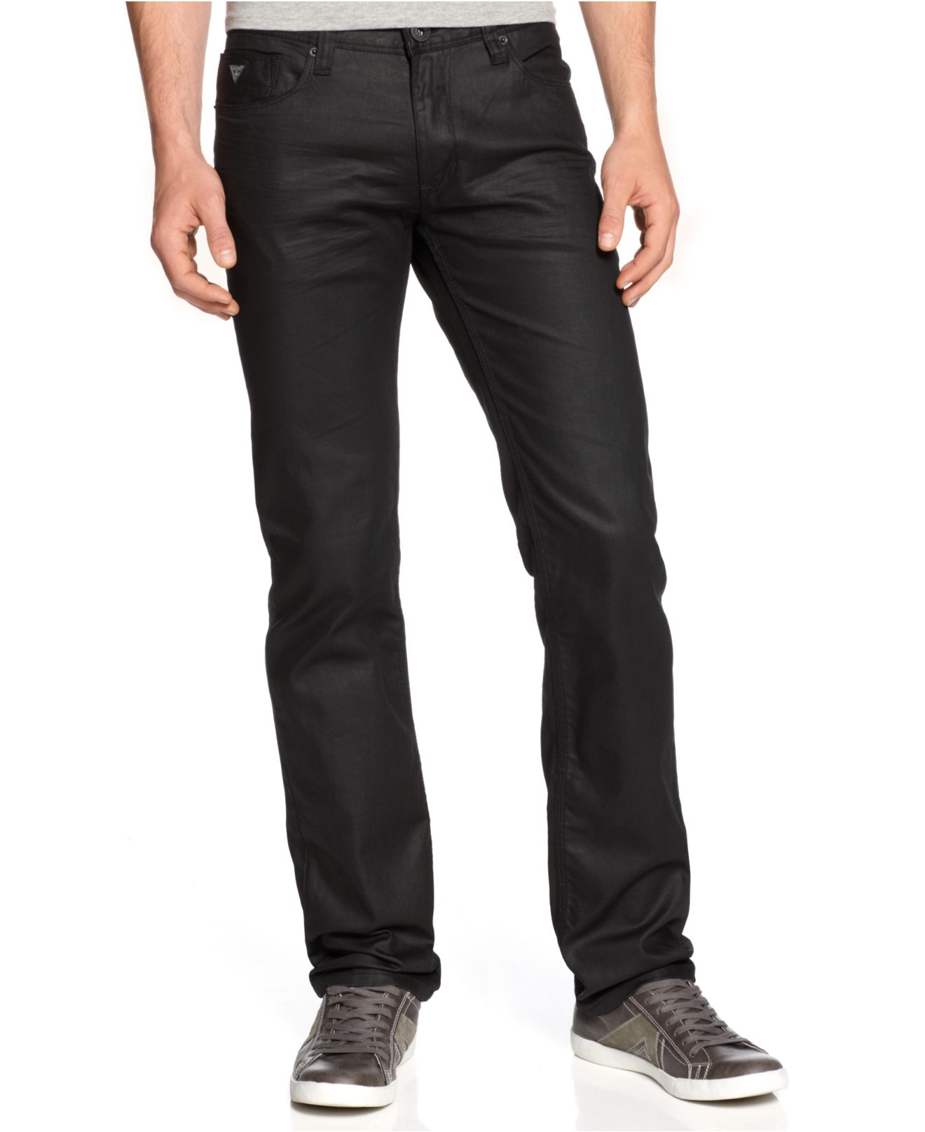 Guess Lincoln Coated Black Wash Slim Straight Jeans in Black for ...